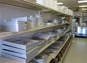 Cake pans on a shelf